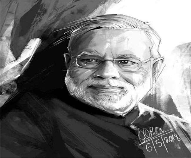 अब करण ने बनाई मुस्कुराते मोदी की तस्वीर, सोशल मीडिया में छाई