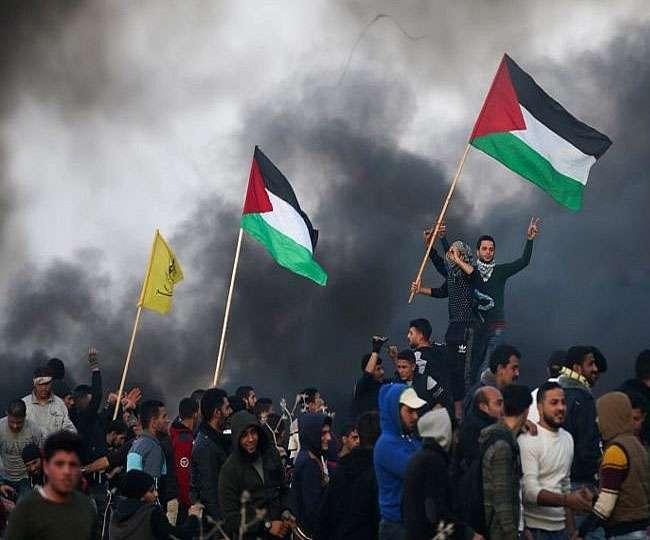 इजरायल के 70वें स्वतंत्रता दिवस पर गाजा पट्टी पर फलस्तीनियों का विशाल प्रदर्शन