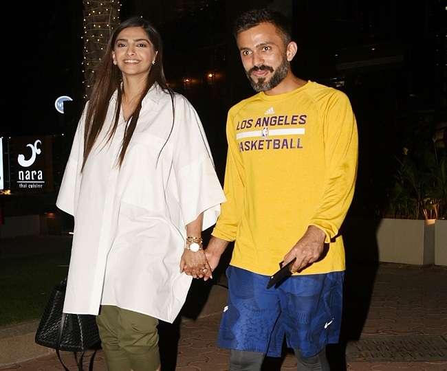 पति आनंद आहूजा के साथ हाथों में हाथ लिए आउटिंग पर निकलीं सोनम कपूर