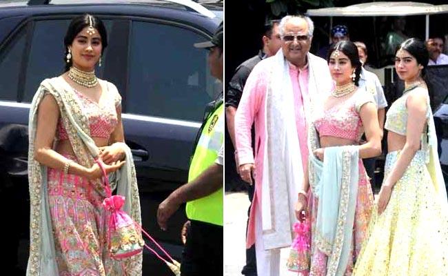 सोनम की शादी में बेहद खूबसूरत नजर श्रीदेवी की बेटियां, बोनी कपूर भी हुए शामिल