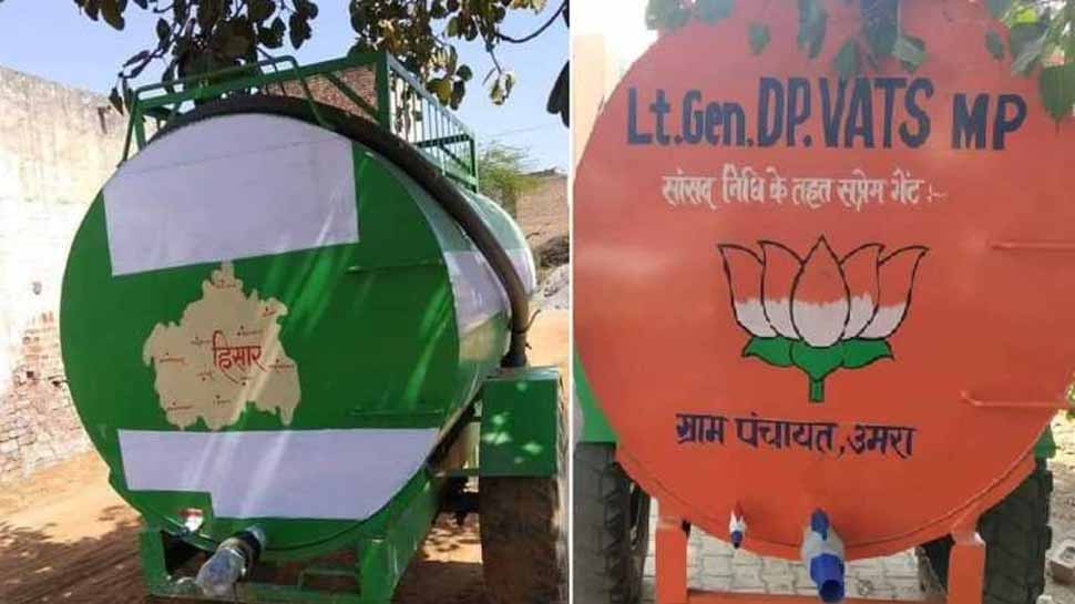 हरियाणा में पानी के टैंकरों पर नाम मिटवाने को लेकर युवा सांसद दुष्यंत सिंह चौटाला ने दागे सवाल