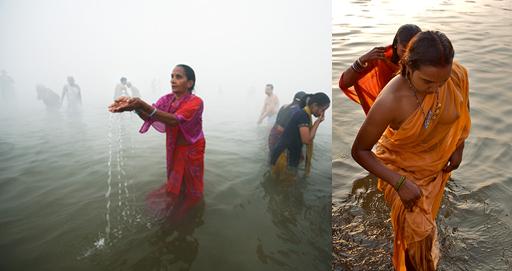 naked girl bathing in river