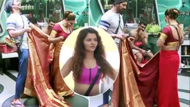 Photo of राखी सावंत को साड़ी पहनाते नजर आये अभिनव शुक्ला, देखे पूरा वीडियो…