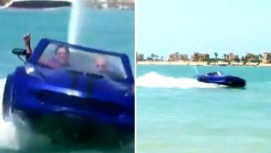 Photo of पानी पर दौड़ती दिखी कार, वीडियो देख सभी हो गए हैरान…