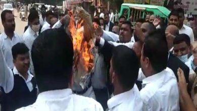 Photo of शाहजहांपुर में वकील की हत्या को लेकर वकीलों ने किया जमकर हंगामा, पुतला फूंककर जताया अपना विरोध